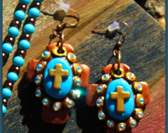 Leap of Faith Earrings - Hand-made Clay Cross in turquoise and copper- Proudly Made In Alabama