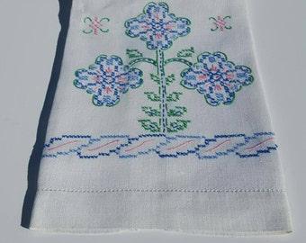 Vintage Embroidered Blue, Pink, Green Linen tea towel, fingertip towel, floral