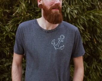 small anchor Organic & Fair Men Shirt  striped