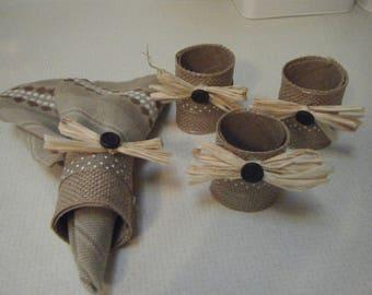Set of 4 Napkin Ring Holders/Handmade Napkin Rings/Housewarming Gift/