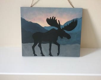 Moose silhouette at sunrise hand painted wall plaque rustic original new