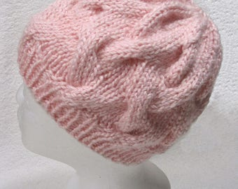 Chunky Cable Beanie Hat - Soft Peony PINK Alpaca Blend  - Hand Knit - Matching Fingerless Gloves Sold Separately