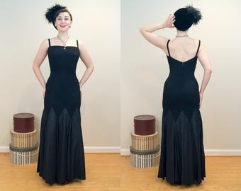 SHOWSTOPPING 1950s Mermaid Evening Gown with Circle Lower Skirt