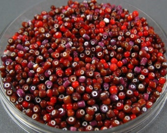11/0 Vintage Italian Seed Beads - Red and Amethyst White Heart Mix