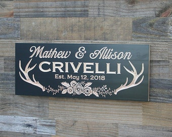 Custom Cabin Sign, Antlers with flower wreath, Cabin Decor, Wooden carved sign, Custom Signs, Benchmark Signs, Maple AF