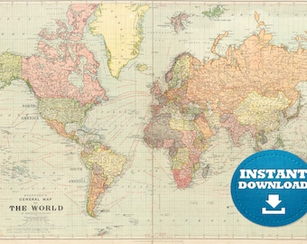 World map poster etsy digital old world map printable download vintage world map printable map large world map high resolution world map posterastralia gumiabroncs Images