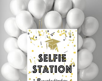 Printable Graduation Decorations, Selfie Station Sign, DIY Grad Party Photo Booth  Poster with your Hashtag, Confetti Gold Grad cap jpg pdf