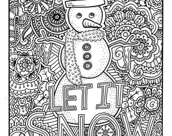 Christmas Coloring Page Book Pages Printable Adult Hand Drawn Art Therapy Instant Download Print