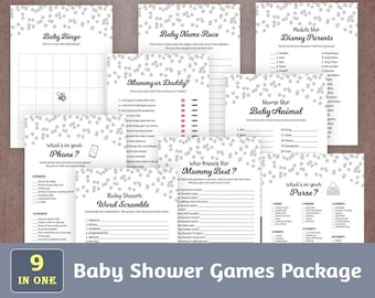 Fun Baby Shower Games Package, Printable Party Games Bundle, Baby Shower Games Set Download, Silver Confetti, Unique Games Pack, SPKG, B016