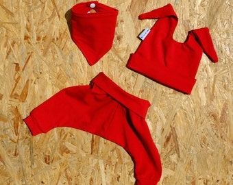 Organic Baby Gift Set - Harem+Hat+Bib - Red - Organic Newborn gift set/Organic Baby shower gift/Modern baby Gift Set