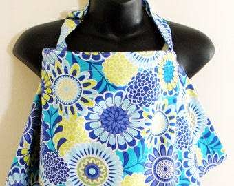 Nursing Cover Up - Blue Yellow Blossom Floral - Perfect for the Modest Nursing Mom