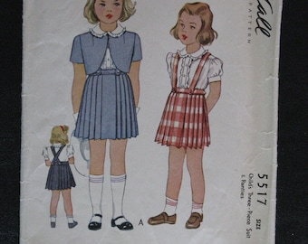 1944 McCall Girl's 3 pc suit & panties #5517, size 2