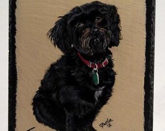 Pet portrait on slate, custom portrait of pet on slate, full size pet, pet head portrait