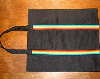 Vintage 1970s Rainbow Canvas Tote Bag Black