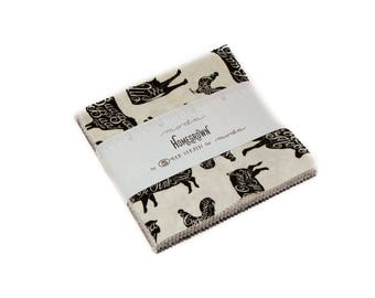 "charm pack HOMEGROWN  moda 42 5"" squares cotton fabric farm cows gray black and cream Deb Strain 19820pp"
