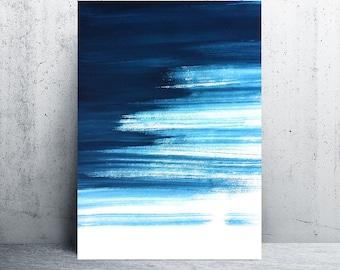 Blue Abstract Watercolor Print, Indigo Digital Print, Navy printable Wall Art, Navy Home Decor, Navy Blue Art, Navy Decor, printable art