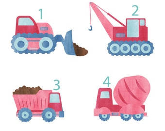 Construction Vehicle Wall Decals - Truck Repositionable Wall Decals