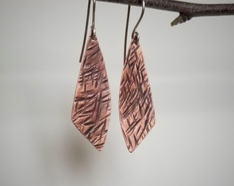 Copper earrings - boho earrings - tribal earrings - rustic earrings - casual earrings
