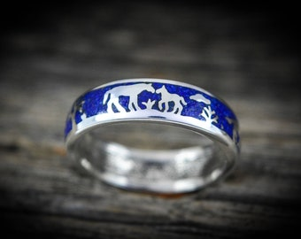 Sterling silver Scenic band of horses ring with inlaid crushed Lapis LazuliSize - 5.5 through 15 (Half Sizes available)