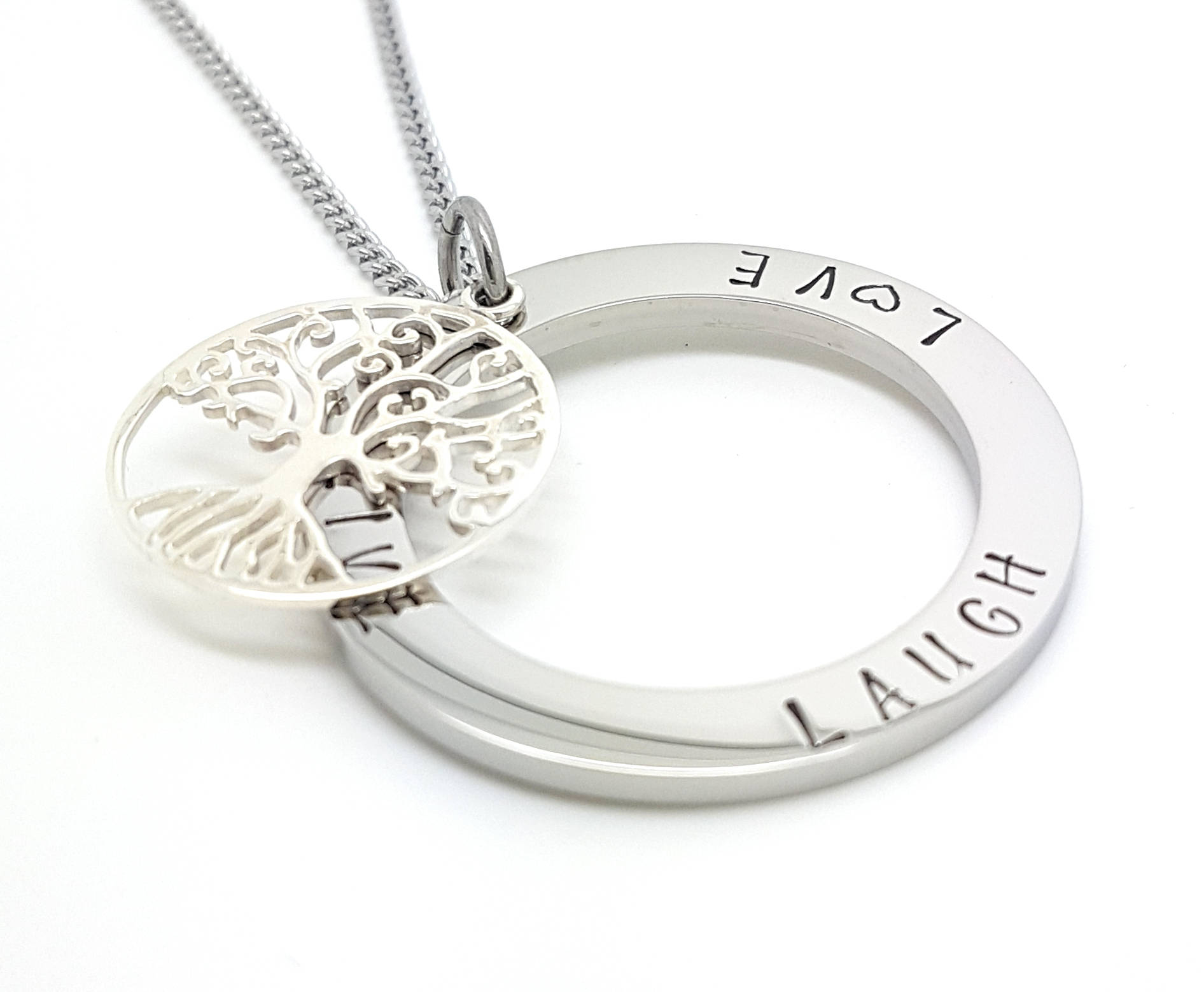 Family names tree of life pendant personalised jewellery hand family names tree of life pendant personalised jewellery hand stamped name necklaces silver family name pendants tree of life gift australia aloadofball Gallery