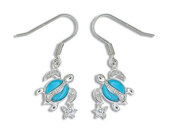 Sterling Silver Hawaiian Honu & Star Blue Turquoise Earrings with CZ (E770)