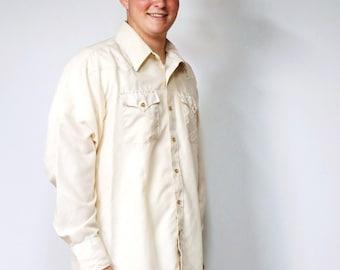 Shirt Vintage Shirt Men's Large Cowboy Shirt 1970's Western Shirt Panhandle Slim Beige Size 17 - 35