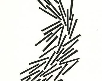 """LOG DRIVE  Linocut Print - Black & White Abstract Print - Modern Landscape Print 8""""x10"""" - Ready to Ship"""