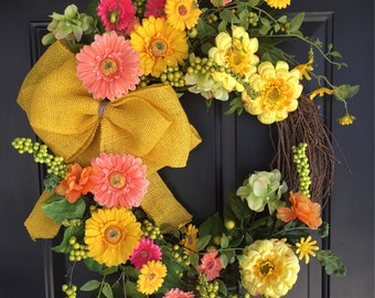 Spring Wreath - Front Door Wreath -Mother's Day Gift - Summer Wreath - Yellow Wreath