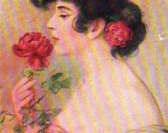 VINTAGE POSTCARD, jeune femme avec une Rose, recueillis par junqueTrunque