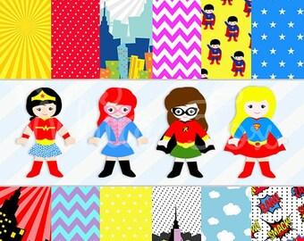 Teacher Clipart / Classroom Clipart / Kids Clipart / Teacher Cliparts/ Superhero Class Theme / Classroom Superhero / Item No: HP-04