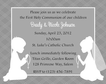 First Communion Invitation - Twins  (Digital File) / Twin First Communion Invitation - Siblings First Communion - Cousins First Communion
