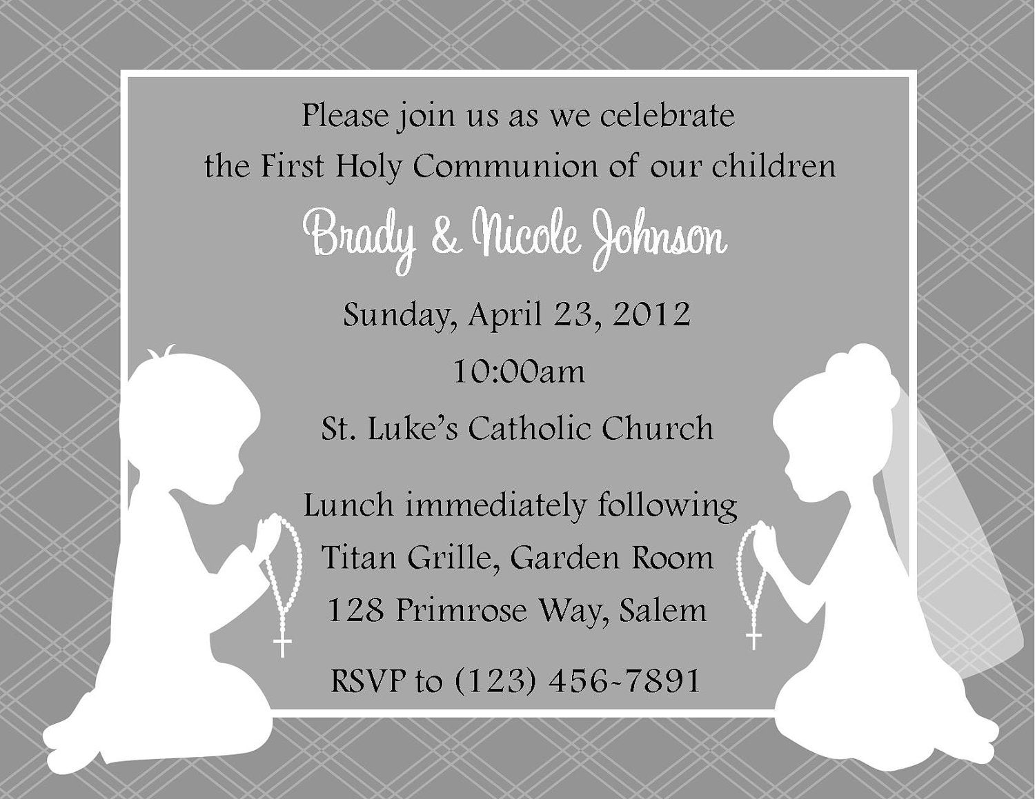 First Communion Invitation Twins Digital File Twin