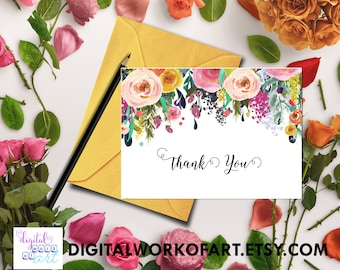 Thank You Printable, Thank You Card, Printable Floral Thank You Card, Wedding, Bridal, Baby Shower, Instant Digital Download PDF Printable