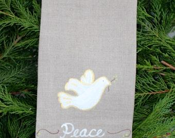Peace Dove Christmas Guest Towel