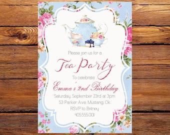 Tea Party Birthday Invitation, Tea Party Invitation, Birthday Invitation