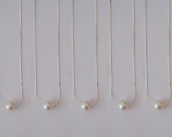 3 Floating Pearl Bridesmaid Gift Necklaces, Floating Pearl Necklace, Single Pearl Necklace, One Pearl Necklace, Minimalist Pearl Necklace