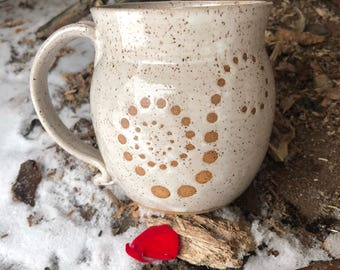 13.5 Ounces - Ebb and Flow - Spiral Mug - White Speckled Glaze - Wheel Thrown Pottery