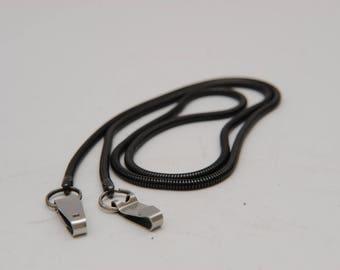 Vintage Black Herringbone Camera Strap Metal