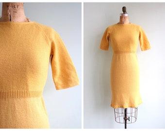 Vintage 1960's Mustard Yellow Knit Dress | Size Small