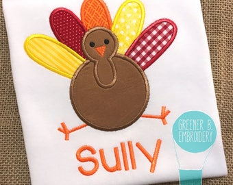 Turkey Applique Shirt / Turkey Shirt / Thanksgiving Shirt / Boy Thanksgiving Shirt / Toddler Turkey Shirt / First Thanksgiving Shirt