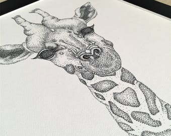 Print of Giraffe Illustration | Pen and ink pointillism | Dotwork animal art | Traditional freehand artwork | Wildlife drawing