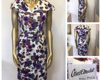 1950's Purple Floral Cotton Dress by Ascot Model - Size 8/10