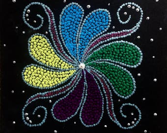 "Dot Pointillism, Acrylic, Swirls 8""x8"" black board,dot art, pointillist art, dot artwork, pointillist artwork, pointillism"