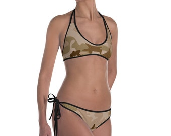 Camo Striped Bikini Swimwear Set