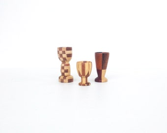 Vintage Geometric Wood Egg Cups / Candle Holders / Set of 3