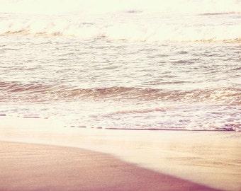 nautical decor sunset beach print waves photography 8x10 24x36 fine art photography beach ocean photography abstract vintage look beige gold