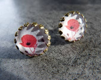 Stud Earrings cabochon glass poppies original