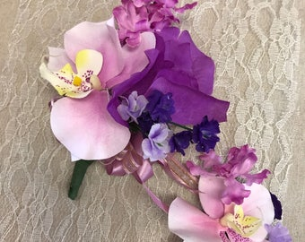 Corsage and boutonniere set for wedding, prom, bridal shower, party......
