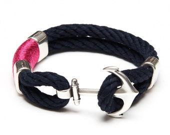 Nautical Rope Bracelet / Nautical Anchor Bracelet / Navy Blue Anchor Bracelet / Silver Pink Green Bracelet / Nautical Jewelry