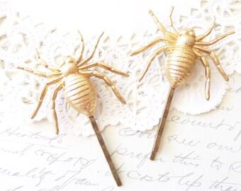 Spider Hair Pins - Spider Bobby Pins - Large Raw Brass Spider - Spider Hair Accessories - Big Spider Bobby Pin Set